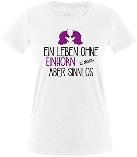 EZYshirt® Ein Leben ohne Einhorn ist möglich ! Aber sinnlos Damen Rundhals T-Shirt Weiß/Schwarz/Violett