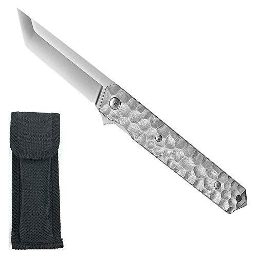 AUBEY Tanto Klappmesser Outdoor Einhandmesser Angel Survival Messer Scharf Jagdmesser EDC Pocket Knife mit Gürtelclip Glasbrecher (Silber)