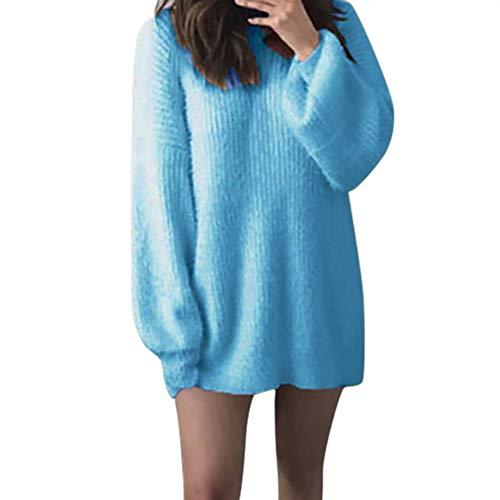 (Damen Pullover Teddy Fleece Mantel Langarmshirt Sweatshirt MYMYG Kuscheliger Langer Fleecemantel Faux Pelzmantel Warm Parka Outwear Herbst Winter (A1-Blau,EU:48/CN-4XL))