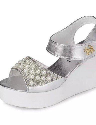 WSS 2016 Chaussures Femme - Habillé - Blanc / Argent - Talon Compensé - Confort - Sandales - Similicuir white-us7.5 / eu38 / uk5.5 / cn38