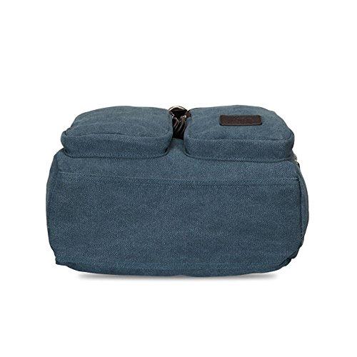 Bwiv Rucksäcke Canvas Unisex Schulrucksack Vintage Schultertasche Daypack Outdoor Backpack Damen Herren Tasche für Retro Reisetaschen Lässige A · grau A · Blau