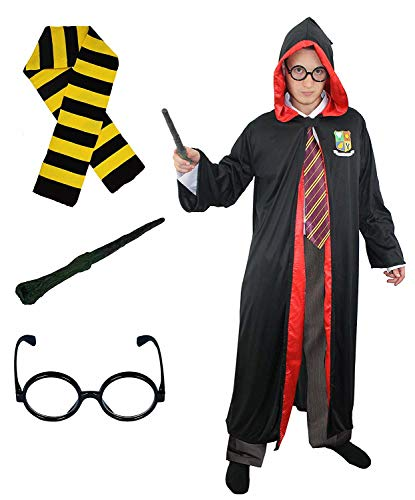Zauberer Kostüm Lehrling - ILOVEFANCYDRESS Zauberer MAGIER=KOSTÜM VERKLEIDUNG MIT SCHWARZ/GELBEM SCHAL= Robe IN 5 GRÖSSEN+Brille +ZAUBERSTAB= PERFEKT FÜR Fasching Karneval Gruppen +VEREINE =Large