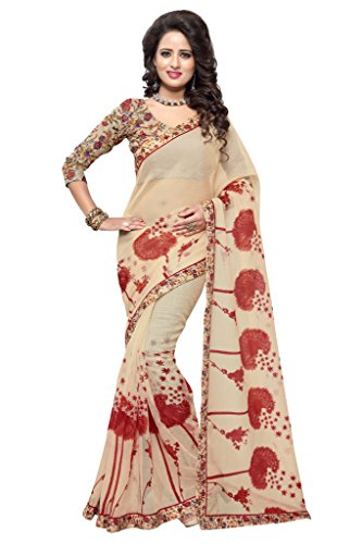 SOURBH Women's Art Silk (Super Net) Floral Printed Saree (2354_Beige,Red)  available at amazon for Rs.695