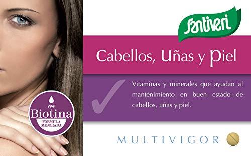 Complemento alimenticio multivigor para cabellos, uñas y piel de Santiveri: contiene 48 capsulas (35 gr)