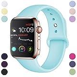 Hamile Correa Compatible con Apple Watch 38mm 40mm, Correa de Repuesto de Silicona Suave para Apple Watch Series 4/3/2/1, M/L, Mar Azul