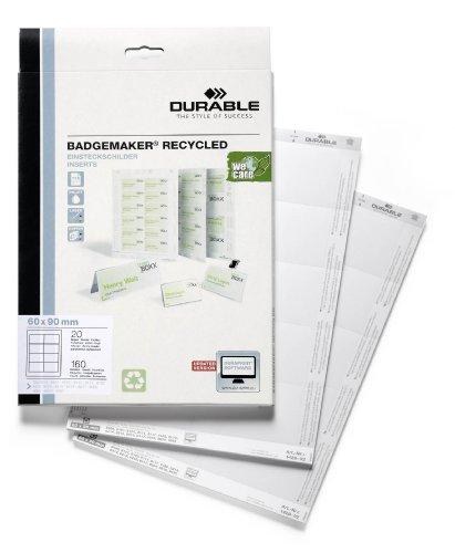 Preisvergleich Produktbild Durable 142902 Einsteckschild Badgemaker recycelt, weiß, 60 x 90 mm, 160 Schilder