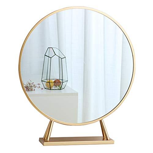 Kosmetikspiegel Vanity Desktop Gold Frame Rasierspiegel Großes rundes Badezimmer Schlafzimmer Wohnzimmer Dressing Dekorative Chic (40cm, 50cm, 60cm)