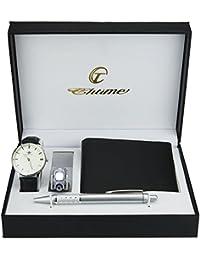 Coffret Cadeau Montre Homme Blanc - Lampe LED - Couteau Suisse - Portefeuille - stylo