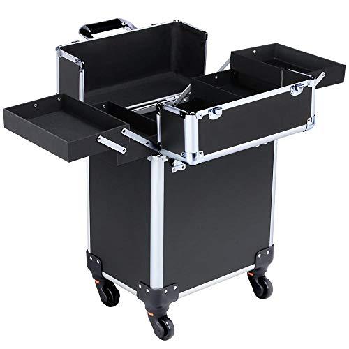 Yaheetech Alukoffer Schminkkoffer Koffer Schminkkoffer Werkzeugkasten Friseurkoffer, 34 x 24 x 44 cm schwarz