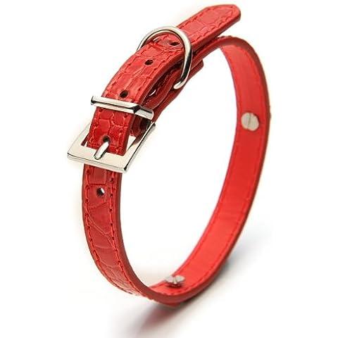 Collare per Cane Tg. S 37x1,5cm Rosso PU Cuoio Sicurezza
