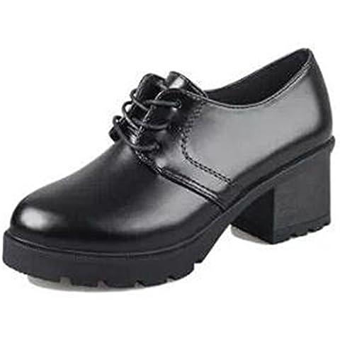 Spritech (TM) moda antideslizante Invierno grueso talón botas estilo británico botas de cuero para las niñas para mujer, Negro