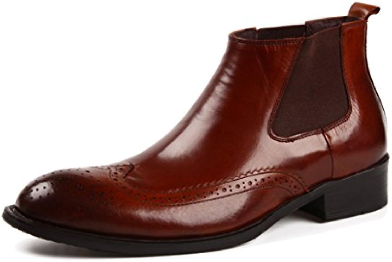 Zapatos Clásicos de Piel para Hombre Zapatos de Cuero para Hombres High-Top Business British Style Señaló Corto...