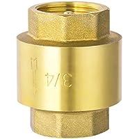 UEETEK Válvula antirretorno anti retorno en línea Acoplador 3/4 Racor de latón para gas combustible Aceite de gas de agua (DN20 3/4)