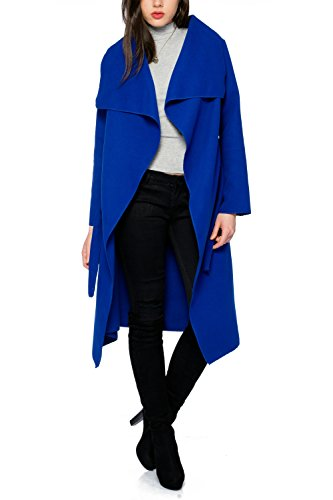 Kendindza Damen Mantel Trenchcoat mit Gürtel Onesize Lang und Kurz (One Size, Royalblau Lang) (Kurze Blaue Mäntel)