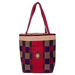 Womaniya Women's Shoulder Bag (Multi- Coloured-Handicraft Jute Bag)