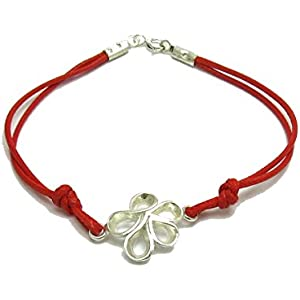 Sterling silber armband Blume mit roter string 925 Empress jewellery