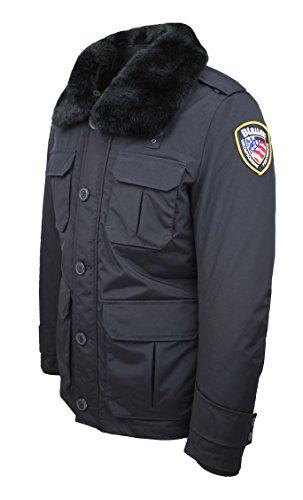 Giubbotto piumino blauer modello police nero invernale parka giaccone imbottito taglia s (s)