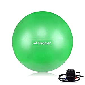 Trideer Exercise Yoga Ball, Extra Thick & Anti-Slip & Anti-Burst Swiss Ball with Quick Pump, Gym Ball for Pilates Core Training Fitness Birthing Pregnancy (Office & Home & Gym)