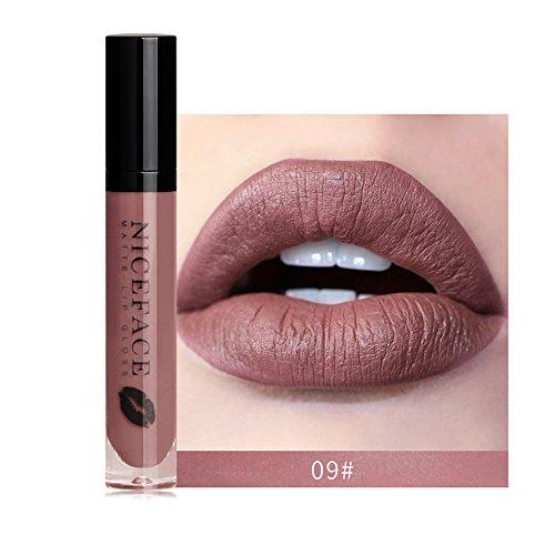 Brillant à lèvres Mat, GreatestPAK Maquillage imperméable à l'eau de Brillant à lèvres Liquide Rouge à lèvres 12 Nuances (09#)