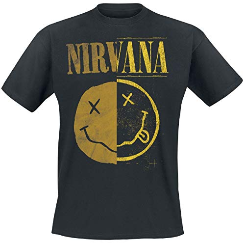 Nirvana Spliced Smiley Camiseta Negro L