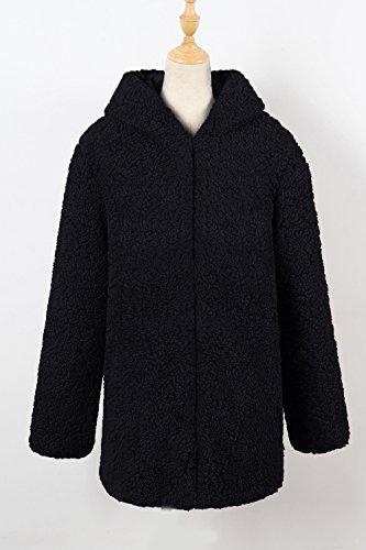 Un Sweat À Capuche Hiver Chaud Les Bouton De Veste Outcoat Fausse Fourrure Poilu Black