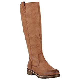 Stiefelparadies Gefütterte Damen Stiefel Reiterstiefel Langschaft Boots Schuhe 149762 Hellbraun Berkley 38 | Flandell®