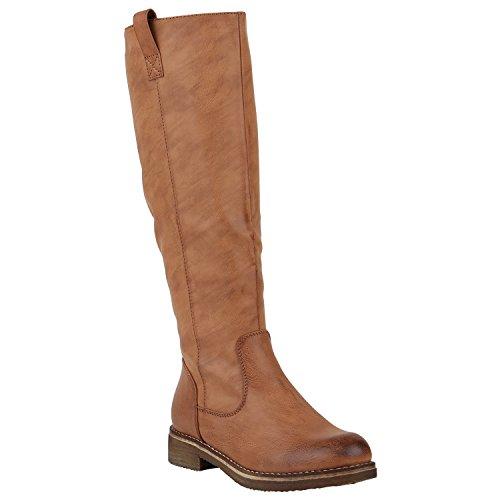 Gefütterte Damen Stiefel Reiterstiefel Langschaft Boots Schuhe 149762 Hellbraun Berkley 39 | Flandell®