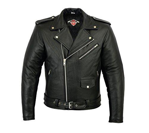 Veste pour Homme - Style Perfecto - Cuir de Vachette - Noir - 2XL - Tour de Poitrine 117cm