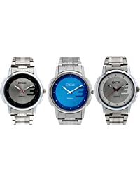Dice 3 Watches Combo Pack of Wrist Watches for Men Multi Color Dials, Stainless Steel Case and Chain.