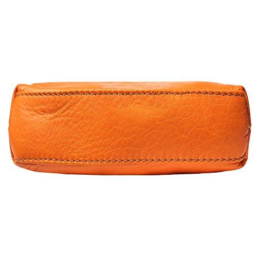 Mini weichem Leder unisex Quertasche aus Italien Orange/Braun