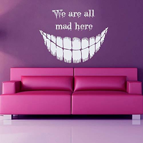 Cheshire Cat Wandaufkleber Zitat Wandaufkleber Wir Sind Alle Hier Verrückte Kunstwand Vinyl Halloween Aufkleber 44 * 56 cm