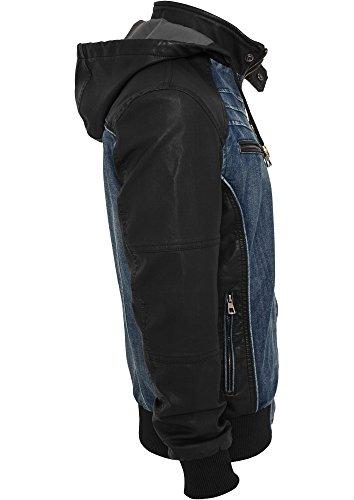 TB675 Hooded Denim Leather Jacket Herren Jacke Jeans Kapuze - 4