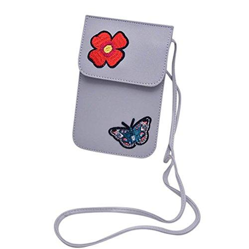 Bluestercool Borse Donna Pelle Borsa a Tracolla Piccola Modello della Farfalla Grigio