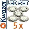 SUPER SET 5er: K-03 Einbaustrahler + SMD LED 15p! 35W! + GU10 Fassung 230V