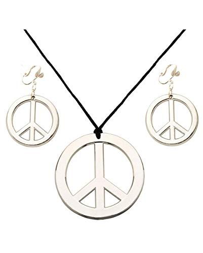 Horror-Shop Hippie Halskette & Ohrringe mit Peace-Zeichen für Flower Power Parties & Fasching