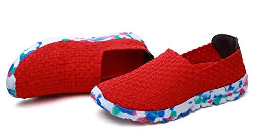 TDA ,  Damen Durchgängies Plateau Sandalen mit Keilabsatz Rot