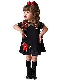 b819c74e848f Clode® for 0-5 Years Old Girls, Cute Summer Toddler Baby Girl Kids Short  Sleeve Rose Floral Applique Princess Tutu Dress…
