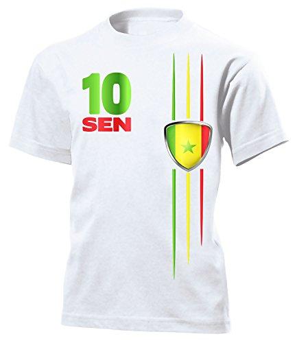 Senegal Fan Streifen 5435 Fussball Kinder Kids Jungen Mädchen Unisex Fanshirt Shirt Tshirt Fanartikel Artikel T-Shirts Weiss 152