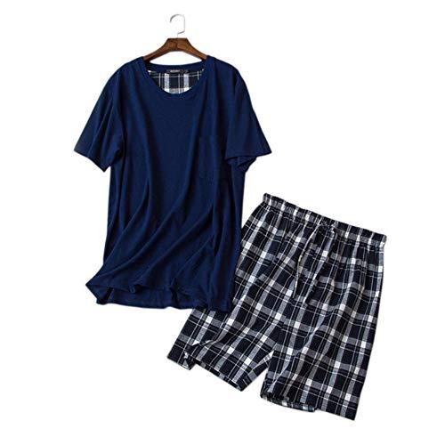 Meaeo pigiama corto in cotone 100% sexy per uomo. semplice pigiama scozzese estivo per uomo a maniche corte homewear-l