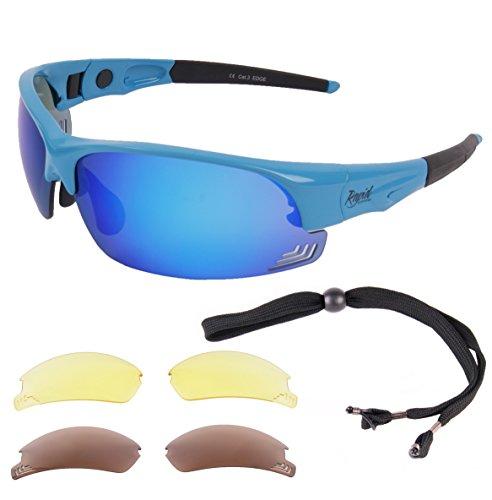 Rapid Eyewear Edge Blau Sport Sonnenbrille UV400 mit polarisierte Wechselgläsern. Für Damen und Herren. Sportbrille mit Einstellbare Seitenarme. Seitenschutz