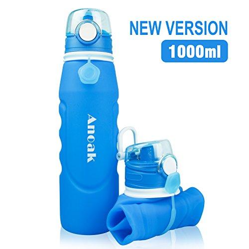 Faltbare Trinkflasche 100% BPA-frei Wasserflasche mit Leck Sicherheitsventil für Camping, Sport, Outdoor und Reisen,Sportflasche,1000ML,Blau[2018 Neues Upgrade]