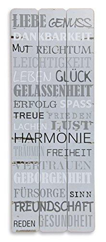 levandeo Holz-Schild Wandbild in grau 80x30cm - Genuss Lachen Spruch Holzbild Schild Wandschild Bild Holz Dekoschild Wanddeko Wandobjekt Modern Wanddekoration Familie