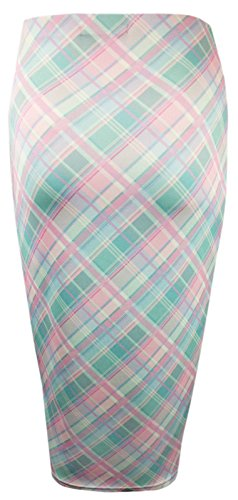 Dogtooth Check Midi-Bleistiftrock, enganliegend, Stretch - Check Print