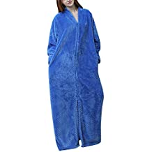 Batas De Casa Albornoz Ducha Invierno Ropa De Dormir para Mujer con Cremallera Y Bolsillos
