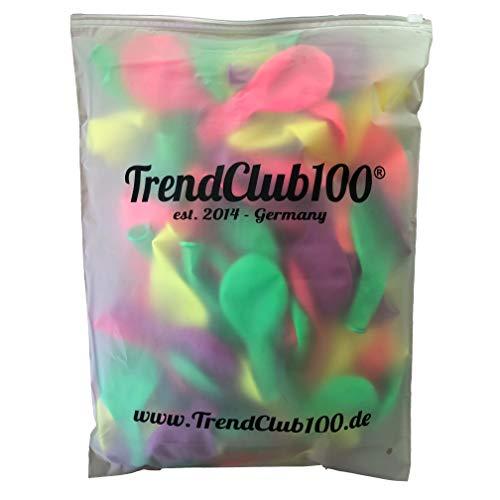 TrendClub100® 100 Luftballons Ballon - Neon fluoreszierend - Pink Orange Grün Gelb Lila Violett