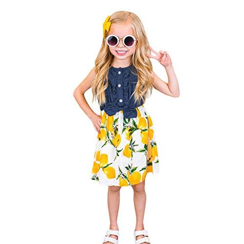 Frashing Kleinkind Baby Mädchen Ärmellose Zitrone Pfirsich Print Kleid Splice Denim Kleider Genähtes Denim-Top-Kleid Blume Printed Mode Kleid Urlaub Stil Kleid