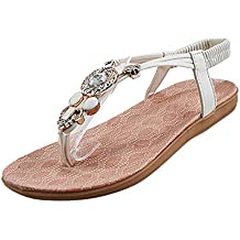 Vertvie Damen Sommer Schuhe Strandschuhe Offene T-Spangen Sandalen Knöchelriemchen Sandalen mit Strass Zehentrenner Flip Flop Hausschuhe (38, Schwarz)
