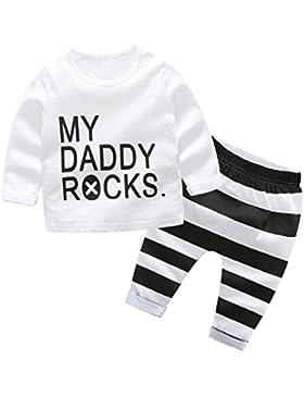 Manadlian Mode Neugeborenes Säugling Baby Jungen Mädchen Brief drucken Oberteile Hemd Hose 2 Stück Kleinkind Baby...