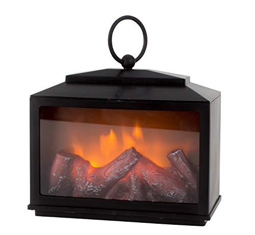 LED Tischkamin Kamin LED Laterne schwarz aus Kunststoff 18x18 cm inklusive Griff und stimmungsvoller Flammensimulation