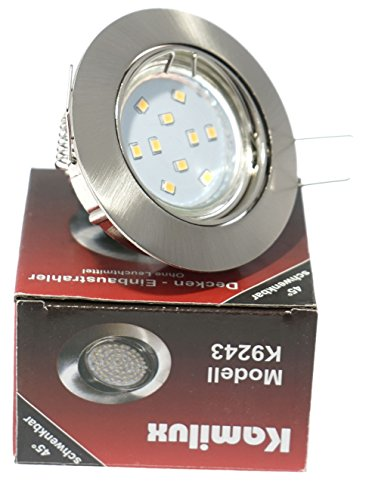 1 x SMD LED Bad Einbaustrahler Jerry 230V inkl. 3Watt Leuchtmittel in warmweiß oder kaltweiß Edelstahl-geb. Optik GU10 Sockel, ((kalt)weiß) - 2